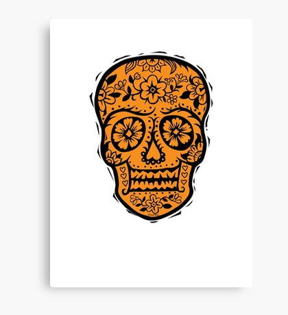 Sugar Skull SF Halloween on blk Canvas Print