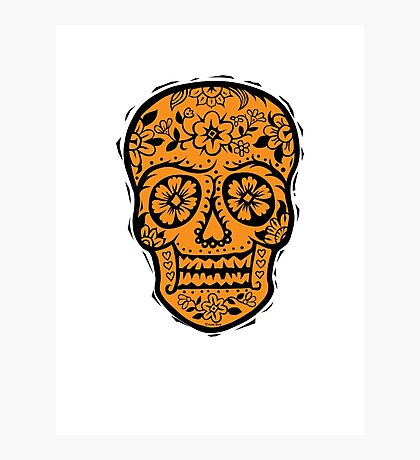 Sugar Skull SF Halloween on blk Photographic Print