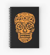 Sugar Skull SF Halloween on blk Spiral Notebook