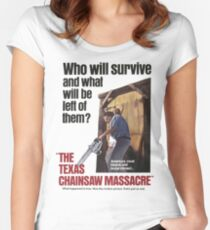 Texas Chainsaw Massacre Movie Poster Women's Fitted Scoop T-Shirt
