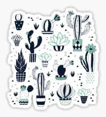 Green cacti in a pot Sticker