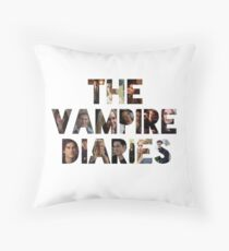 The Vampire Diaries -block letters filled with characters Throw Pillow