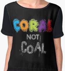 Coral Not Coal - White on Black Chiffon Top