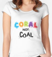 Coral Not Coal - Black on White Women's Fitted Scoop T-Shirt