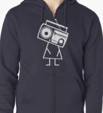 RADIO-FACE (White) Zipped Hoodie