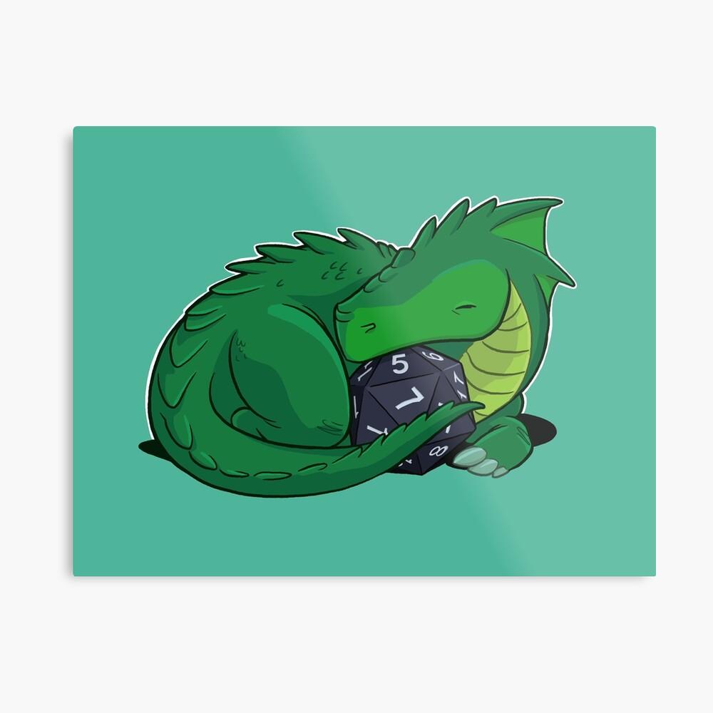 D20 Green Dragon Metal Print