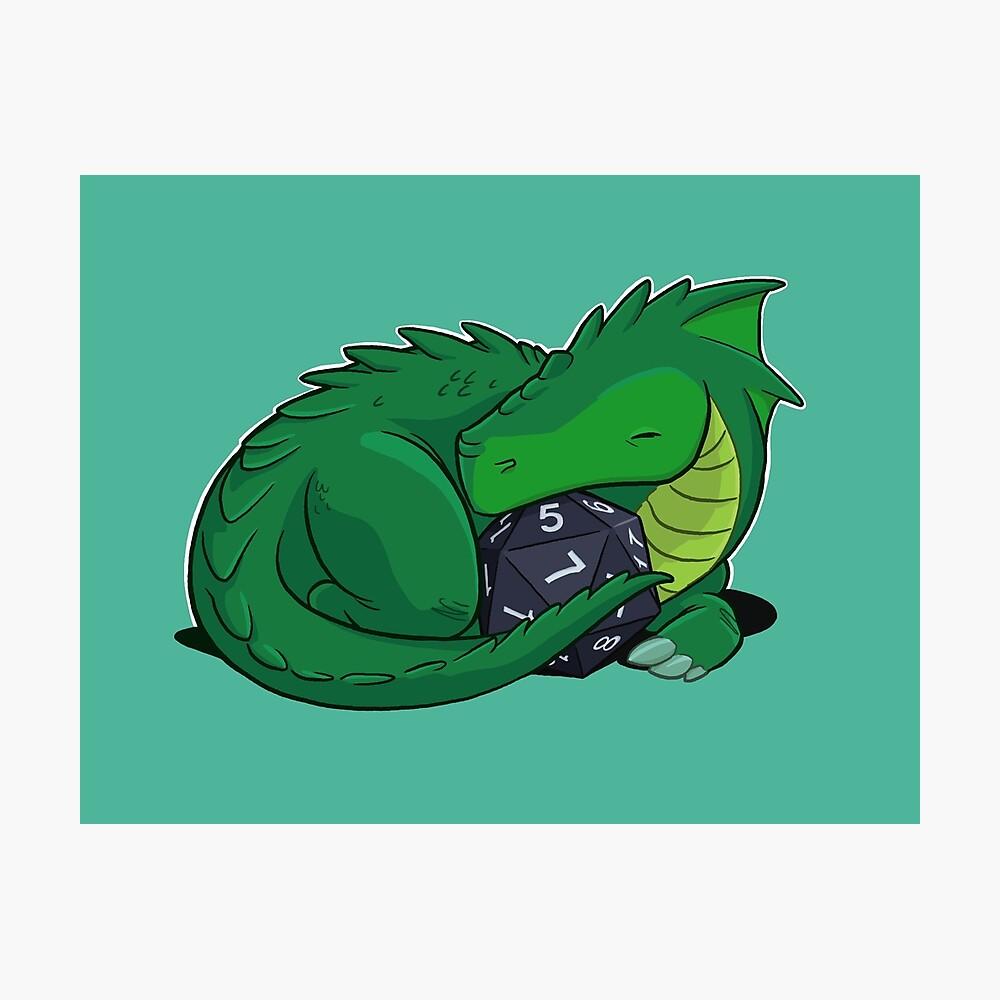 D20 Green Dragon Photographic Print