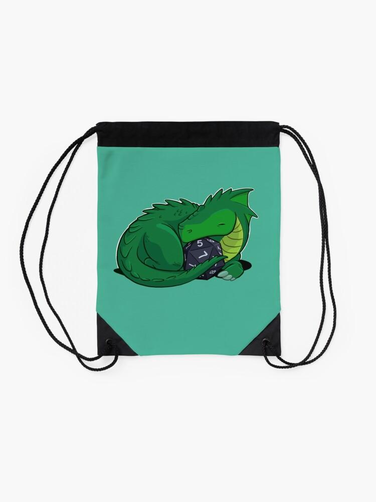Alternate view of D20 Green Dragon Drawstring Bag