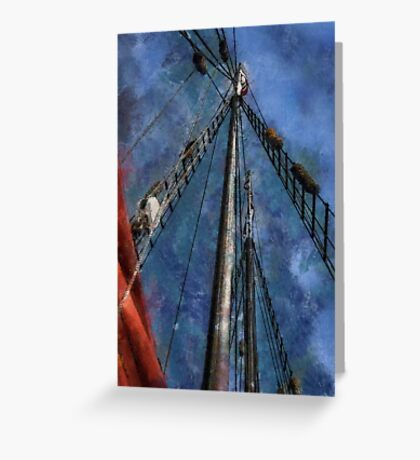 Aboard a tall ship Greeting Card