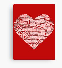 100 positive, optimistic, uplifting, cheerful affirmations and words that form heart shape Canvas Print