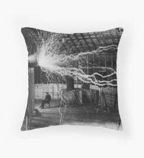 Nikola Tesla - Bolts Of Electricity Throw Pillow