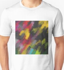 camouflage splash painting abstract in red black yellow green blue pink Unisex T-Shirt