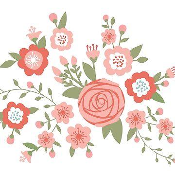 Rosa Rose und Kirschblüten-Muster von hocapontas