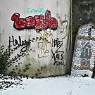 The Death of Gingerbread Castle - Grafitti and A Tombstone.... by Jane Neill-Hancock