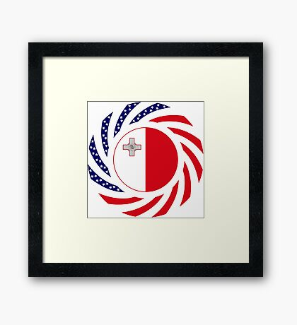 Maltese American Multinational Patriot Flag Series Framed Print