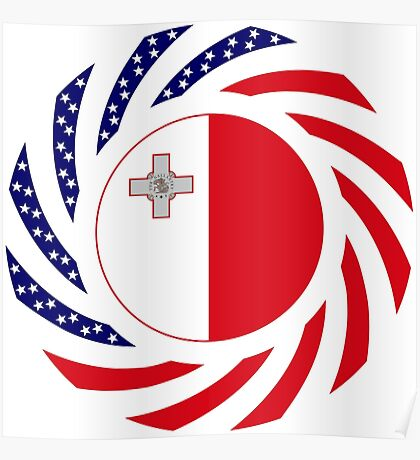 Maltese American Multinational Patriot Flag Series Poster