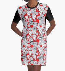 White roses and owls Graphic T-Shirt Dress