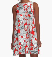 White roses and owls A-Line Dress