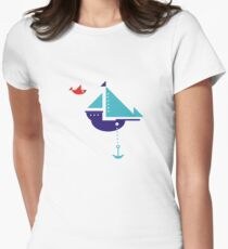 Sailboats with anchors, sharks, fish and sea gulls Women's Fitted T-Shirt