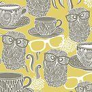 Tea owl yellow by Ekaterina Panova