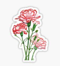 rote und rosa Gartennelken-Aquarellmalerei Sticker