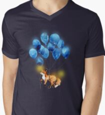 Camiseta para hombre de cuello en v Zorro rojo y los globos