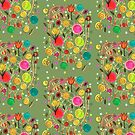 springtime flowerfield: colorful, happy, brushpen drawing of a field full of flowers by mariska eyck