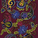 Paisley of '71 - black on burgundy by Carrie Dennison