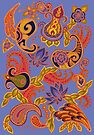 Paisley of '71 - orange on blue by Carrie Dennison
