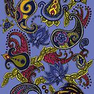 Paisley of '71 - black on blue by Carrie Dennison