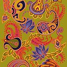 Paisley of '71 - orange on green by Carrie Dennison