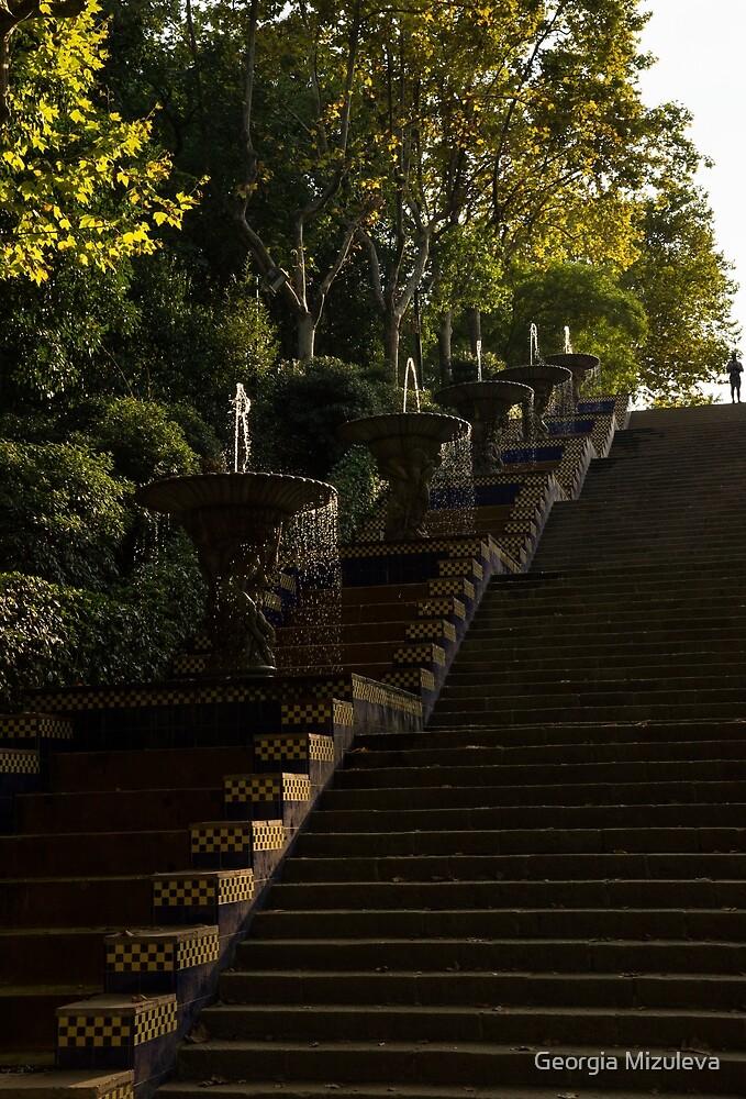 Joyful Blue and Yellow Cascade - Montjuic Park, Barcelona, Spain by Georgia Mizuleva