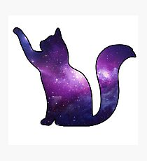 Galaxy Cat Playing Photographic Print
