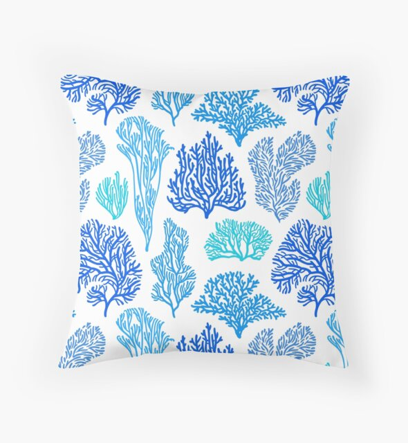 Coral Mania pattern in blue. by Iker Paz Studio