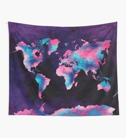 world map 62 Wall Tapestry