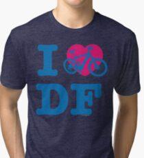 I Love Cycling DF Blue Pink / Yo Amo andar en Bicicleta en el DF  / Chilango Pride / Orgullo Chilango Tri-blend T-Shirt