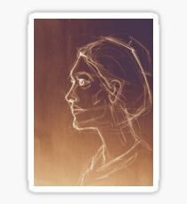 Art sketched beautiful girl face in profile. Drawing illustration. Sticker