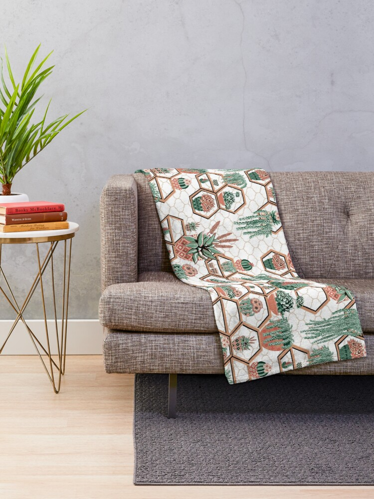 Alternate view of Cacti and Succulent Garden Throw Blanket