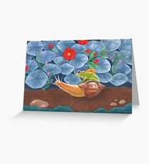 frog and snail travelling into the wild Greeting Card