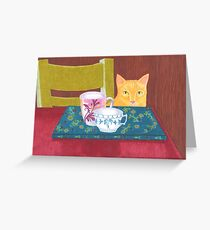 still life with cat and coffeecups Greeting Card