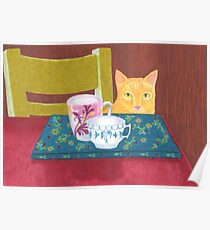 still life with cat and coffeecups Poster