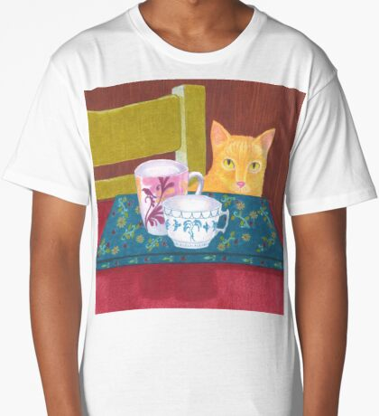 still life with cat and coffeecups Long T-Shirt