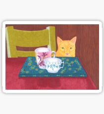 still life with cat and coffeecups Sticker