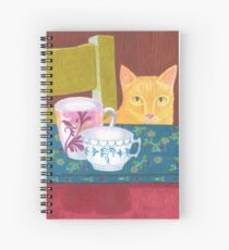 still life with cat and coffeecups Spiral Notebook