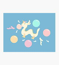 Pastel Bubblegum Dragon Pattern Photographic Print