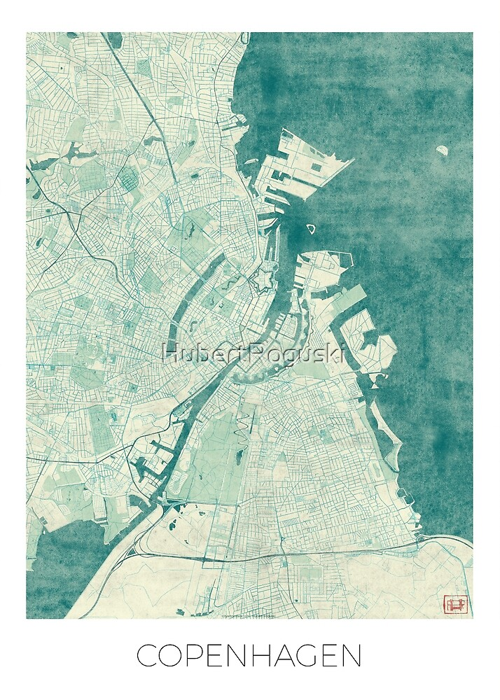 Copenhagen Map Blue Vintage by HubertRoguski