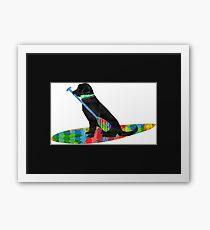 Colorful Stand Up Paddle Board Preppy Black Lab Framed Print
