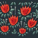 Beautiful Red Abstract Tulip Pattern by Boriana Giormova