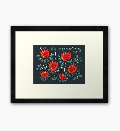 Beautiful Red Abstract Tulip Pattern Framed Print
