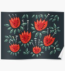 Beautiful Red Abstract Tulip Pattern Poster
